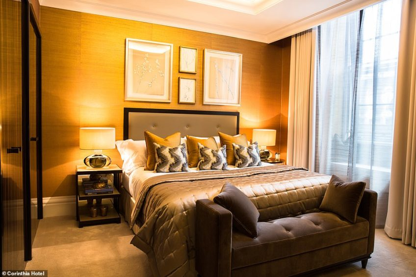 One of the four bedrooms inside the suite, which has bespoke cupboards and a cosy interior