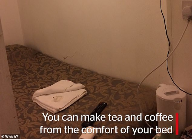Another plus is that there's a kettle in the room and you can make hot beverages while in bed, given the kitchen appliance's proximity to your feet