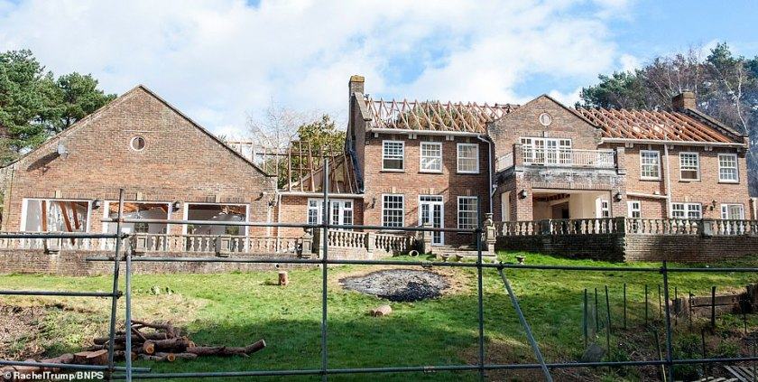 The former mansion, in Poole, Dorset, at the start of its demolition - in a move that many people would describe as crazy