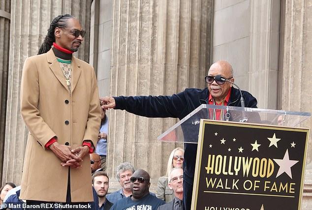 Gangsta luv: Quincy Jones looked stately in a velour sweatsuit