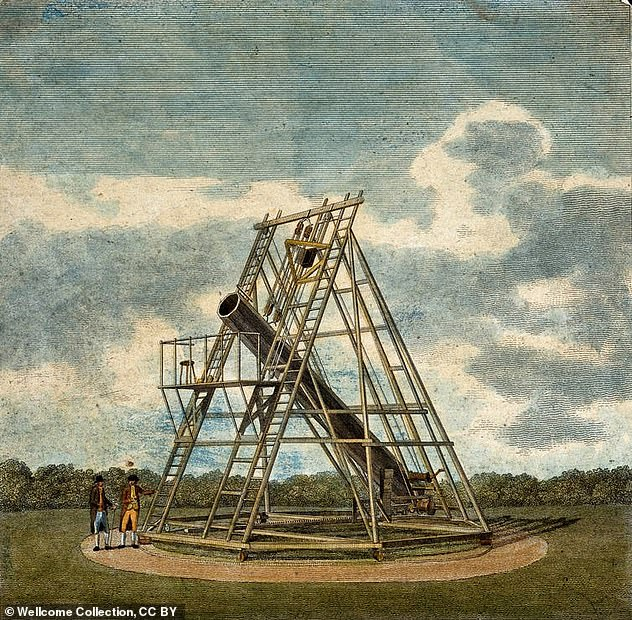 In the 17th century, scientific instruments such as the telescope and microscope were conceived as ways of reversing the effects of Adam's fall from grace. Pictured is a 40-foot telescope made by astronomerWilliam Herschel