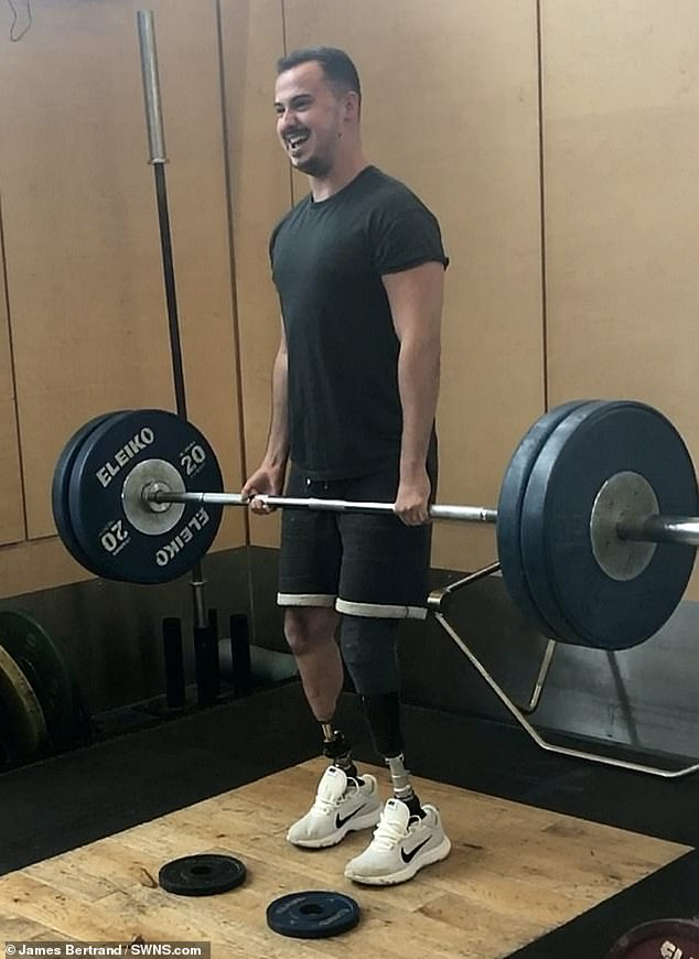 Beyond the surgery: Mr. Bertrand, shown in the gym in September 2018 after his surgery