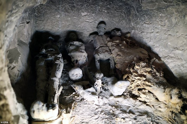 Skeletons were found in the ancient tombin El-Asasef, Luxor, on the bank of the River Nile near the Valley of the Kings