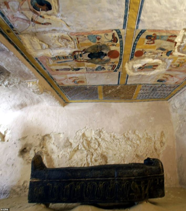 A view inside the newly discovered tomb at al-Assassif Necropolis, in Luxor, 700km south of Egypt's capital Cairo, 24 November 2018
