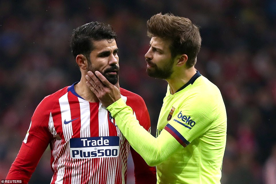 Tensions flared between Costa and Barcelona defender Gerard Pique during the game between two of Spain's top sides