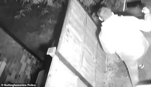 Footage also showed this unmarried man bolting out of the garden