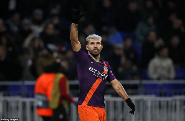 Sergio Aguero equalised for Manchester City to earn them a 2-2 draw against Lyon in the Champions League on Tuesday night