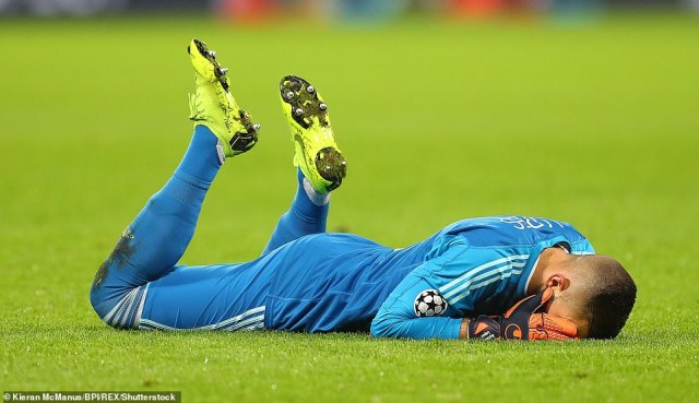 Lyon goalkeeper Lopes can't hide his dejection after Cornet wastes the golden opportunity to put their side ahead early on
