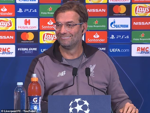 The Liverpool boss looked bewildered as he received English translations to French questions