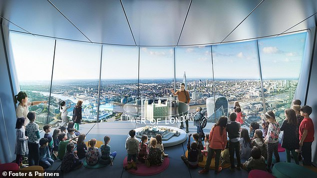 The 12-storey glass bubble erected on top of a concrete stem will be filled with bars, restaurants, a viewing gallery and 'a classroom in the sky'. It is more than twice the height of the London Eye, the next-tallest moving visitor attraction in the capital