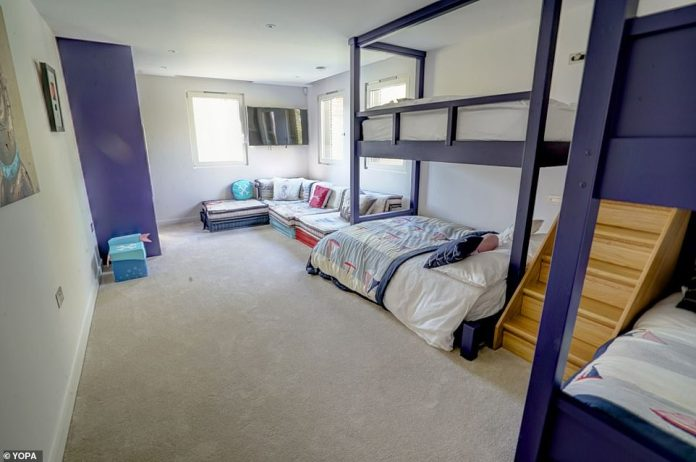 There are currently bunk beds in this colourful children's bedroom on the first floor