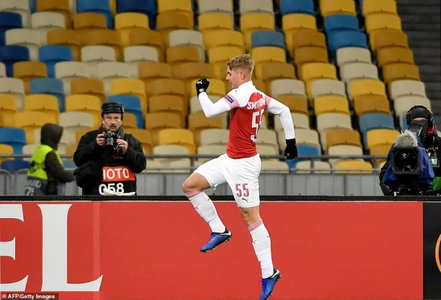 Smith Rowe celebrates after scoring his third Arsenal goal — with his first coming against Qarabag earlier in the competition