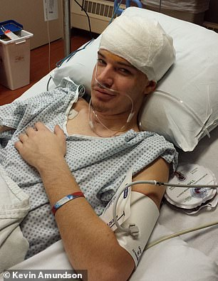 Kevin shot himself under the chin and the bullet got lodged in the speech center of his brain
