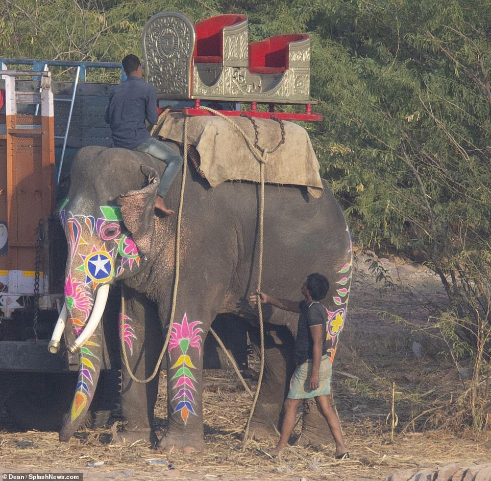 A different kind of ride: Nick and his Indian actress bride then took a ride on an elephant around the premises of the palace and arrived at the main wedding area