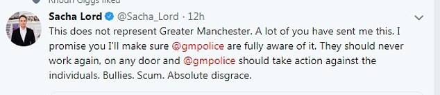 Night time economy adviser for the Greater Manchester Sacha Lord hits out at the bouncers in a tweet in which he shared the video