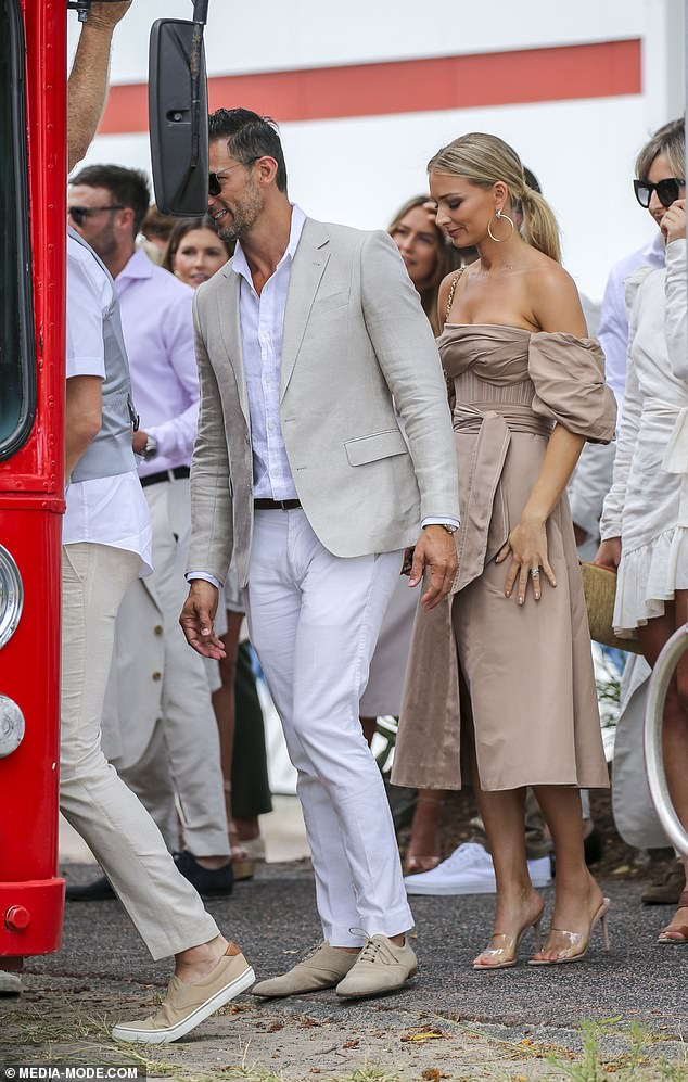Fancy seeing you here!Model Tegan Martin and Bachelor stars Tim Robards and Anna Heinrich (pictured) were among the guests at the nuptials