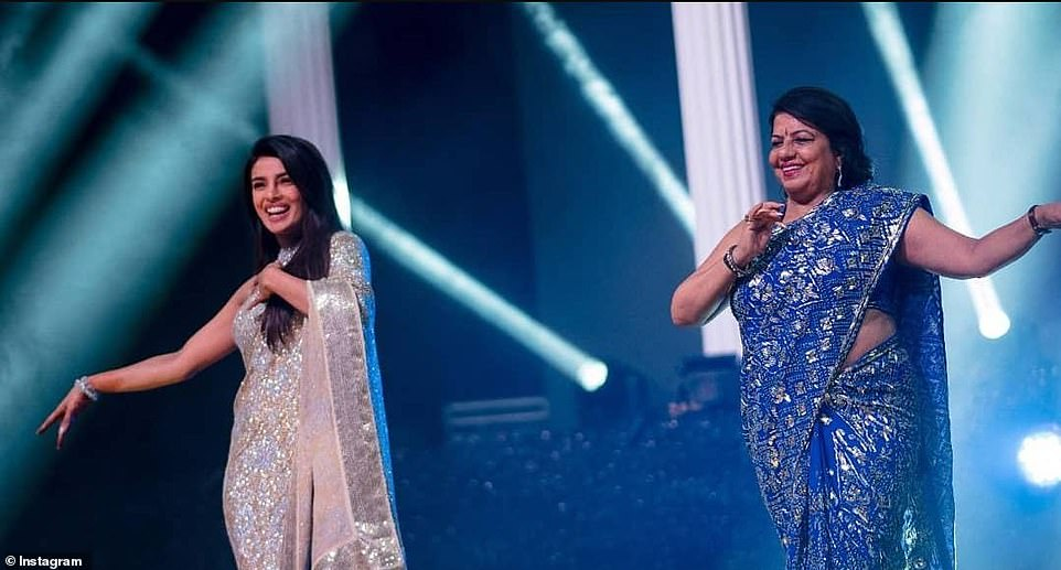 Family act: The bride and her mother Madhu Chopra danced into the sangeet to Ram Chahe Leela Chahe from the 2013 romantic tragedy Goliyon Ki Rasleela Ram-Leela