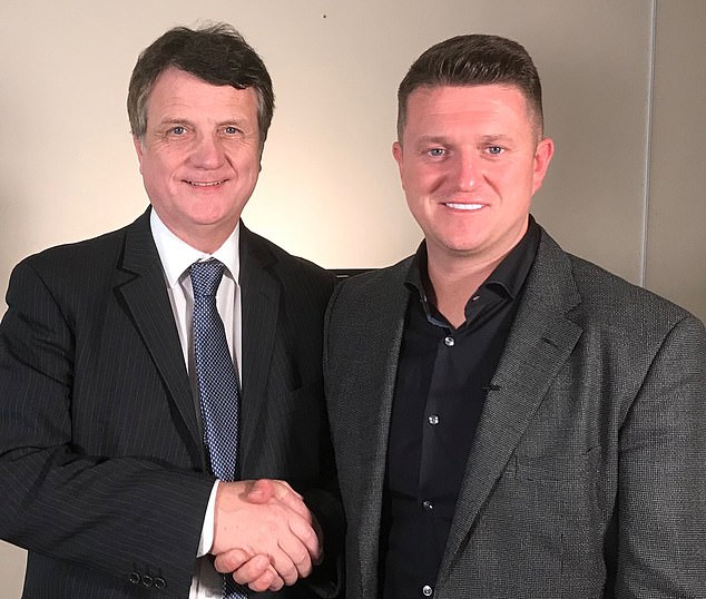 Gerard Batten appointed Mr. Yaxley-Lennon a rape gang and prison reform adviser. They are shown on an undated photo