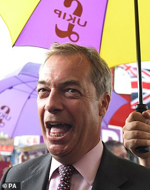 Mr Farage during a campaign event on June 2, 2017