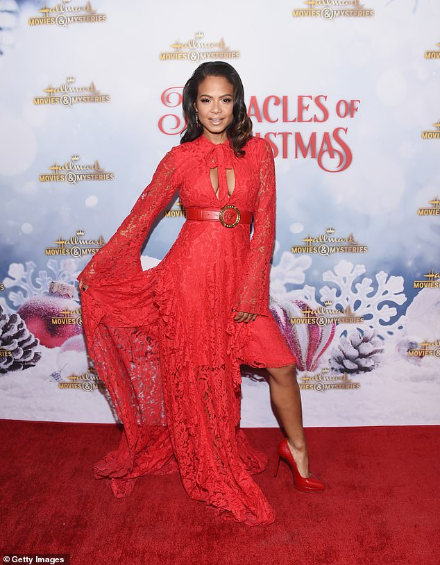 Gorgeous:Christina Milian, 37, attended a Hallmark Channel holiday party Tuesday in Los Angeles, where the network's film Once Upon A Christmas Miracle was screened