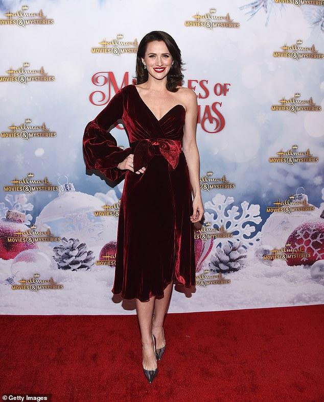 Glamorous:Actress Shantel VanSanten was dressed for the season in a dark red velvet skirt