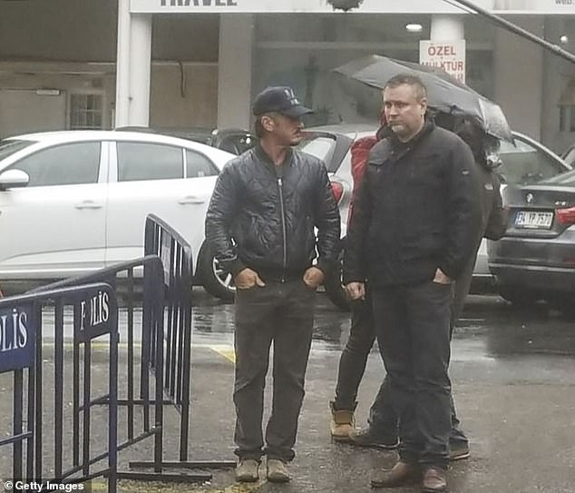 Blockbuster: The Oscar-winning actor and filmmaker was seen working with a film crew in the Turkish city on Wednesday