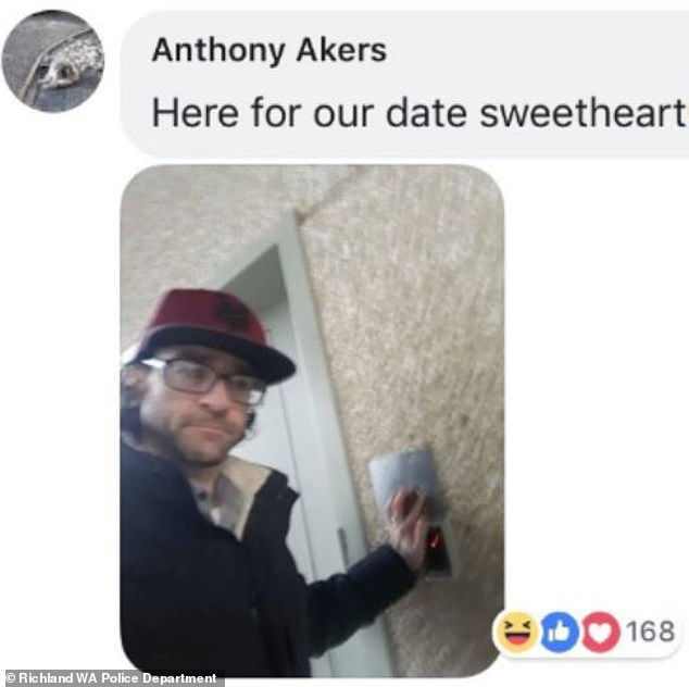 Finally however, the story got its happy(ish) ending - Akers turned himself in to police and even posted a photo of himself at the station for his 'date'