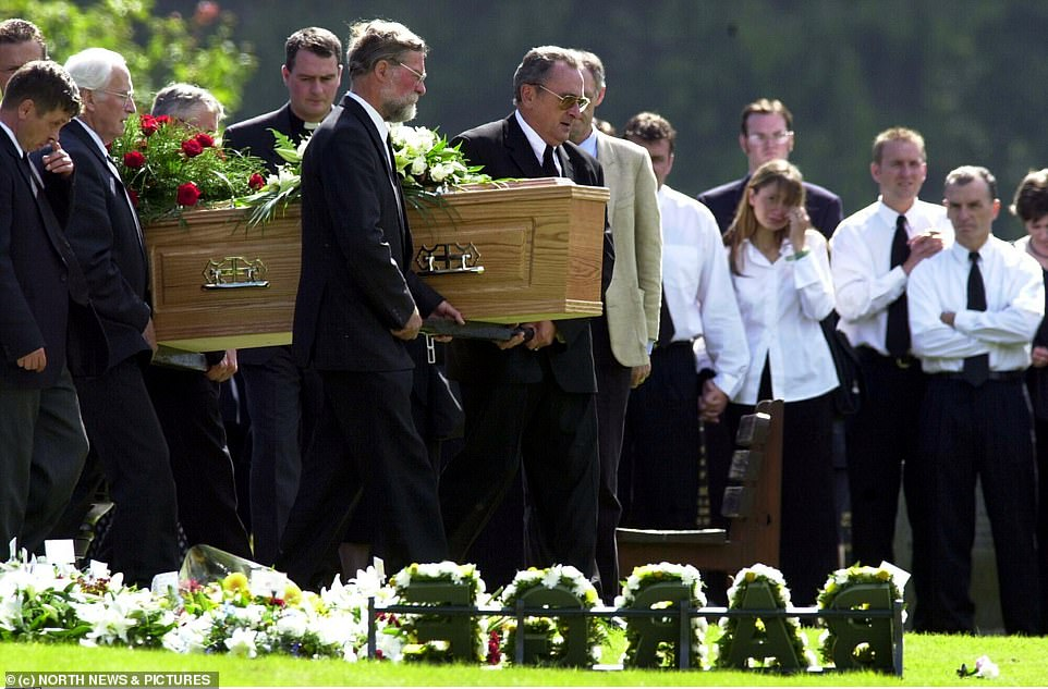 Steven's coffin at his funeral. He remained on good terms with Lisa and would regularly visit son Luke. However, he died after falling asleep on train tracks after he had drunk 14 pints of lager. The orphan of Lockerbiedied two days later of head injuries, surrounded by 20 friends. His son now wants to move on with his life