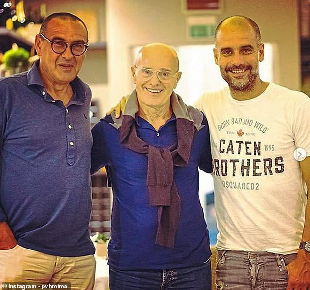Sacchi with his disciples, Maurizio Sarri and Pep Guardiola of Manchester City