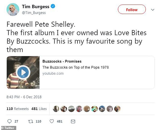Tim Burgess tweeted a farewell message following the news of Pete Shelley's death