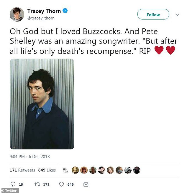 Singer Tracey Thorn said that Pete Shelley was an 'amazing sonwriter'