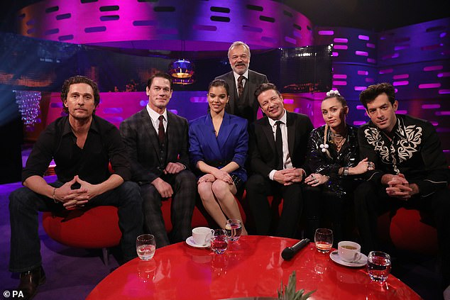 Full line-up: Graham posed with his guests on the show following a fun-filled chat