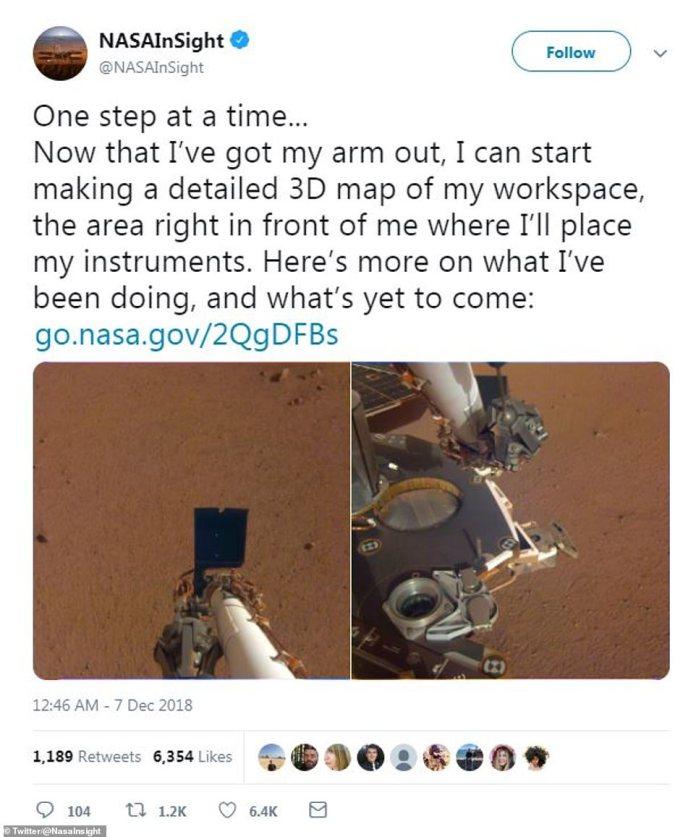 """Der erste Beitrag aus dem InSight-Twitter-Feed enthüllte einen Blick auf die Tools, mit denen die Sonde den roten Planeten untersuchen und """"eine detaillierte 3D-Karte"""" erstellen kann."""