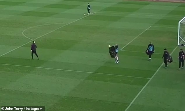 The former Chelsea captain managed to kick the ball in the bag during the session