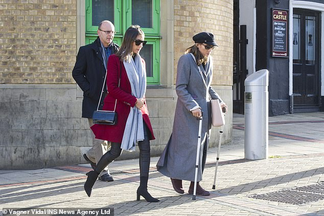 George Duke-Cohan's family leaving Luton Crown Court today. His father Gary Duke-Cohan, sister Amber Duke-Cohan and Mireya Duke-Cohan, his mother (right) watched as the teen was sentenced to three years imprisonment