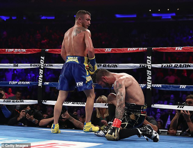 The fearsome puncher downed his bigger rival with a deadly body shot in the 10th round