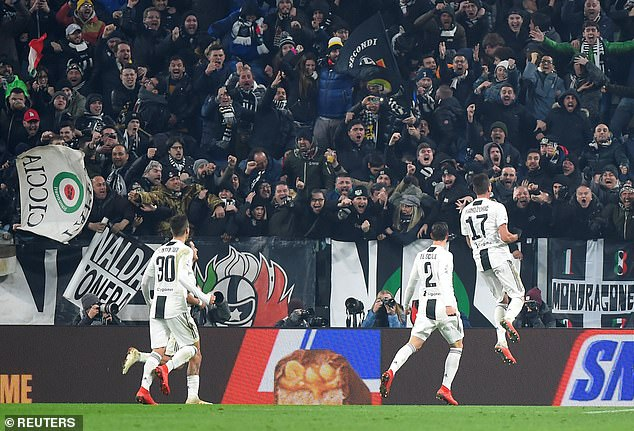Juventus supporters seemed to be having fun while celebrating taking command on Friday