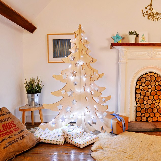 The wooden-slot together tree was originally designed for shop windows. It is made fromtwo pieces of wood slotted together