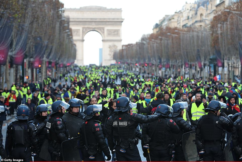Authorities say the protests have been hijacked by far-right and anarchist elements bent on violence and stirring up social unrest in a direct affront to Macron and the security forces. 'We have prepared a robust response,' Interior Minister Christophe Castaner said on Saturday. He called on peaceful protesters not to get mixed up with 'hooligans'