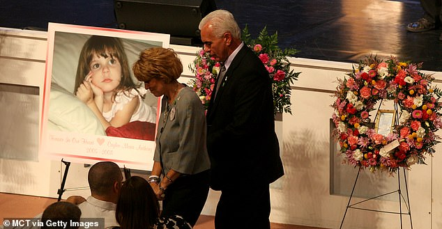 Caylee's grandparentsGeorge (right) and Cindy Anthony at a February 2009 memorial. Cindy reported her missing a month after she vanished