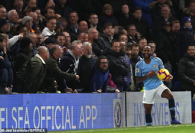 Supporters at Stamford Bridge appeared to shout abuse at the Manchester City forward