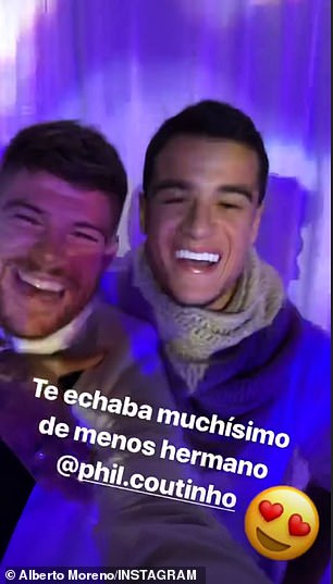 'I've missed you so much brother,' Alberto Moreno captioned a video of him and Coutinho