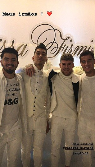 Phillipe Coutinho made a brief return to Liverpool for the birthday of Roberto Firmino's wife's