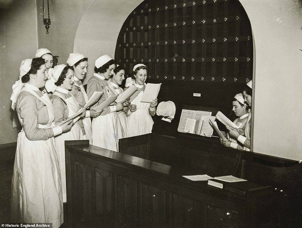 Nurses prepare to entertain their patients at the West London Hospital as they practice old English carols to sing in their wards over the festive season (pictured 1938)