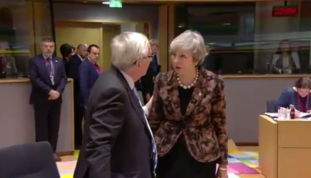 Although the sound was switched off, TV cameras caught Mrs May and Mr Juncker exchanging what looked to be heated words on Friday for at least a minute