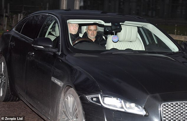 Mourinho was chauffeured into the training ground, but did not take the session like usual