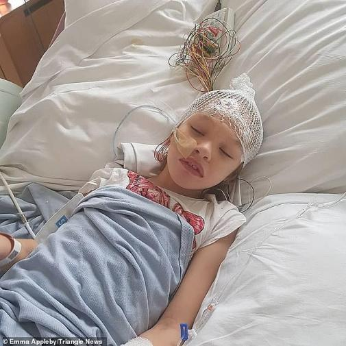 It is unclear why Teagan (pictured in hospital before she started taking the oil) was not offered medicine with THC. It was made legal on prescription by specialist doctors on November 1