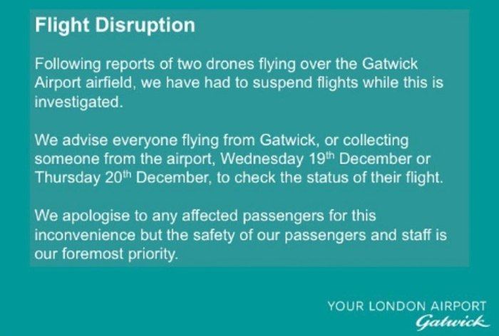 Statement: Gatwick posted a message on Twitter urging passengers to check with their airline before travelling to the airport on Thursday amid fears the knock-on effects of the drone chaos would last well into the day