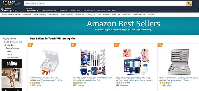 The Harvey & Coco Smile Rehab Teeth Whitening Kit is the best-selling teeth whitening kit on Amazon  (screen grab from December 20, 2018), and 72 per cent of the 814 people who have reviewed the product rated it five out of five stars – it is the second most expensive option in the top 10