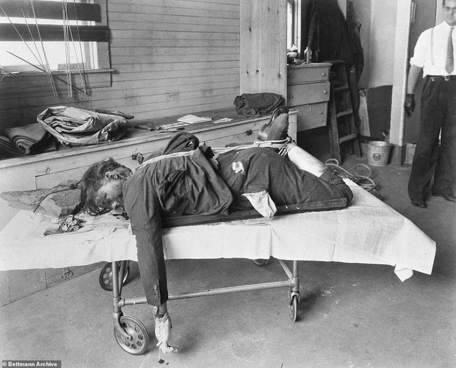 Mob victim: The body of Walter Sage, a hitman working for the mob gang Murder Inc, is pictured after his bound body was pulled from Swan Lake in the Catskills. He was allegedly killed for skimming cash from the mob's slot machine profits